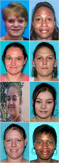 The eight women found dead were all from Jefferson Davis Parish, were aged 17 to 30 and had succumbed to drugs and prostitution: clockwise from top left, Loretta Lynn C. Lewis, Ernestine D. Patterson, Kristen G. Lopez, Whitnei C. Dubois, Laconia S. Brown, Crystal Benoit Zeno, Brittney Gary and Necole J. Guillory.